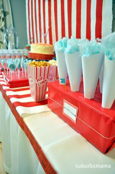 Carnival Themed Birthday Party (shared Party) - stand for cones                                                      cute for nights in