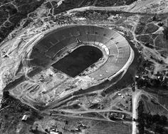 (1922)* - A closer view of the Rose Bowl under construction in 1922.  The Rose Bowl was under construction from 1921 to 1922. The nearby Los Angeles Memorial Coliseum also was under construction during this time and would be completed in May 1923 shortly after the Rose Bowl was completed. Water and Power Associates