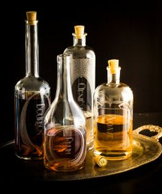 Spirit Decanters   The Variance set of 4 by ReclamationEtchworks