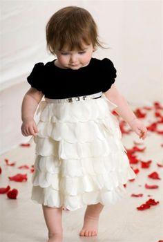 Biscotti - Special Occasion Girls Black & White Short Sleeve Dress