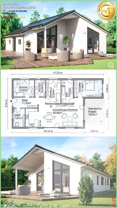 Prefabricated bungalow modern with gable roof architecture & 4 rooms floor plan right . - Prefab bungalow modern with gable roof architecture & 4 rooms floor plan rectangular, 130 sqm with - House Floor Design, Bungalow House Design, Modern House Design, Dream House Plans, Modern House Plans, One Floor House Plans, One Level House Plans, Small House Plans, Bungalows