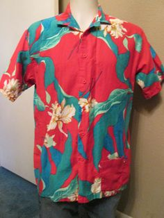Men's Tropical Hawaiian Shirt Size Large by VintageBADTIQUE