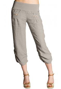CASPAR KHS017 Pantalon 3/4 femme en lin , Farbe:beige;Mode Größe:40 L UK12 US10: Amazon.fr: Vêtements et accessoires