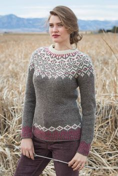 The Grand Forks Pullover showcases a traditional circular yoke with neutral tones and a pop of rich color. The corrugated ribbing at the hem and cuffs creates visual interest, and the waist shaping provides a flattering fit. Get this instant classic in the pages of Interweave Knits, Winter 2018!