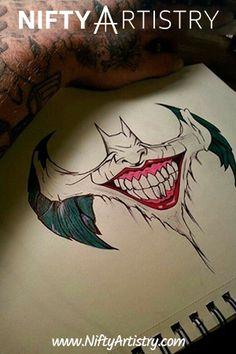 batman x joker Joker Drawings, Pencil Art Drawings, Cool Drawings, Tattoo Drawings, Drawing Sketches, Batman Drawing, Joker Sketch, Tattoo Sketches, Joker Kunst