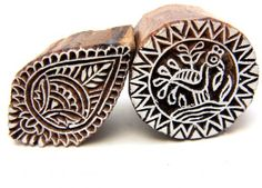 Two Henna Wood Block Stamps Hand Carved In India Peacock and Abstract