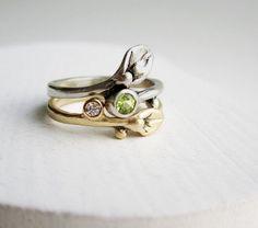 Gold Engagement Diamond Ring 14K White & Yellow by EveryBearJewel, $498.00