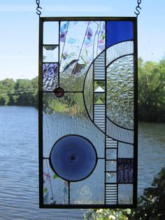 Rondel Geometric Hanging Stained Glass Panel by RenaissanceGlass, $165.00