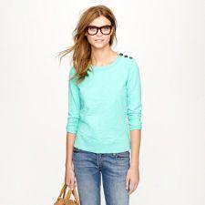 JCREW | Tortoise-button sweatshirt --> the color