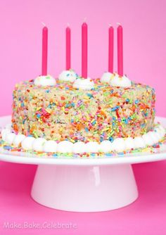 How to make a super easy yet very impressive three tiered rice rice crispy birthday cake makekecelebrate ccuart Image collections