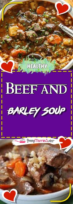 Beef and Barley Soup Via #yummymommiesnet #soup Soup #recipeoftheday recipe of the day #recipeideas recipe ideas #recipes recipes #sundaysupper sunday supper ideas #souprecipes soup recipes