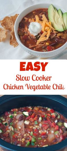 Easy Slow Cooker Chicken Vegetable Chili recipe via biteofhealthnutrition.com