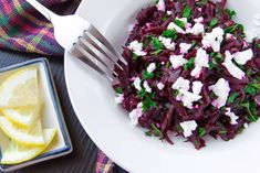 Roasted Beet Salad with Goat Cheese Recipe - Mann Orchards Beetroot And Feta Salad, Roasted Beet Salad, Goat Cheese Recipes, Goat Cheese Salad, Fresh Lemon Juice, Food To Make, Cabbage, Good Food, Fun Food