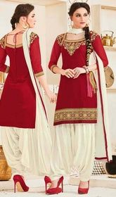 Punjabi Suit in Red Color Embroidered Georgette  #punjabisuitsonlineshopping #latestpunjabiweddingsuits Captivate attention in this Punjabi suit in red color embroidered georgette. This ravishing attire is amazingly embroidered with lace and resham work. USD $ 71 (Around £ 49 & Euro 54)