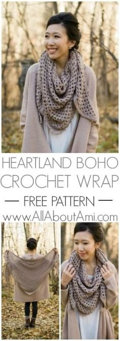 Crochet this gorgeous triangle scarf wrap using Heartland yarn! Beautiful shell stitches are worked with a delicate picot edging. Free pattern and tutorial available! patterns free scarf Heartland Boho Crochet Wrap - All About Ami Picot Crochet, Crochet Beanie, Crochet Stitches, Free Crochet, Crochet Ideas, Crochet Cowls, Free Knitting, Diy Crochet Scarf, Crochet Scarf Tutorial