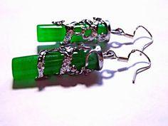 SALE Jade Inlay Earrings Sterling Silver Earrings by MoodTherapy