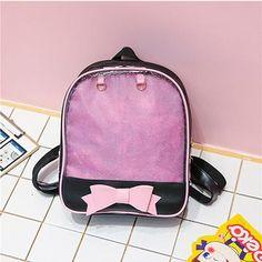 481076c639c0 PVC Transparent Clear PU Leather Women Backpack Ita Bag Harajuku Bow School  Bag For Teen Girls Rucksack Kawaii Backpack Itabag