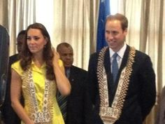 Day 7 Diamond Jubilee Tour, Solomon Islands: Prince William & Kate Middleton wore an emblazoned on official gift necklaces from PM of Solomons. - 17 Sept 2012