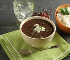 Roasted Tomato and Black Bean Soup with Avocado-Mango Salad