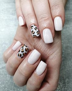 Cute Short Acrylic Nails Ideas, You Will Love Them! Cute short nails design with an accent leopard print nail!Cute short nails design with an accent leopard print nail! Cute Short Nails, Cute Nails, Pretty Nails, Cheetah Nail Designs, Leopard Print Nails, Leopard Nail Art, Short Nail Designs, Nail Art Designs, Nails Design