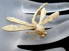 14k Yellow Dragonfly Figural Brooch Pin 5 3 grams Estate Vintage   eBay