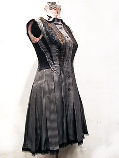 made from a salvaged 40's silk dress,  stitched with victorian lace & thoughtful angles.