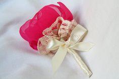 Wedding Fabric Flower Boutonniere Handmade by FernsCottage27, $15.00