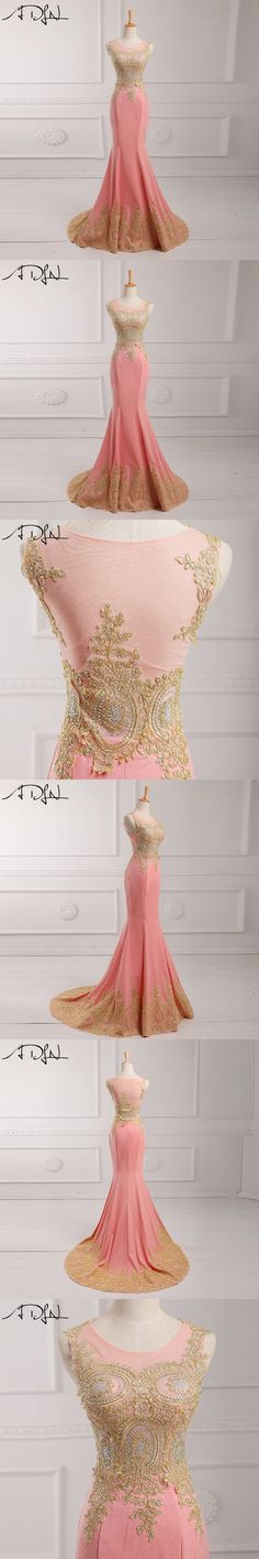 ADLN Hot Pink 2017 Evening Dress Floor Length Applique Beaded Sequins Long Evening Gowns Mermaid Vesti De Noche