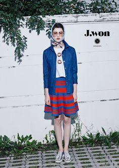 J.WON London SS16 'BonBon' Shirts Sleeveless top with 'BonBon' print Stripe-knitted flared skirt