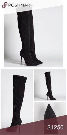 """Giuseppe Zanotti suede over the knee boots Giuseppe Zanotti suede over the knee boots   Upper: Suede. Lining: Leather and textile. Sole: Leather. Form fitting over the knee, with a bit of stretch.  Wrapped stiletto heel 4.5"""" heel with .5"""" hidden platform Shaft: 19"""" height, 15"""" circumference Side zipper closure at instep Giuseppe Zanotti  Retail: $1,600 Size 7 available Giuseppe Zanotti Shoes Over the Knee Boots"""