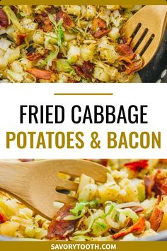 Healthy Meals For One, Healthy Food Options, Good Foods To Eat, Healthy Recipes, Free Recipes, Fried Cabbage And Potatoes, Cooked Cabbage, Bacon Fried Cabbage, Vegetable Dishes