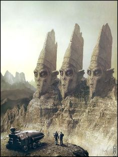 Cover art by Max Bertolini for the June, 2004 issue of The Magazine of Fantasy & Science Fiction. Reminds me of an alien Mount Rushmore. Sci Fi Fantasy, Fantasy World, Cyberpunk, Books Art, Arte Tribal, Alien Planet, Alien Worlds, Science Fiction Art, Fantasy Illustration