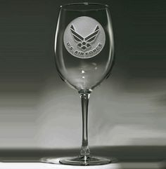Engraved Air Force Wine Glass at Crystal Imagery.