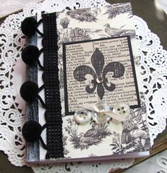 Mini Altered Composition Book. French Toile. by fabulousfinds #alterednotebook #minicompositionbook #frenchtoile