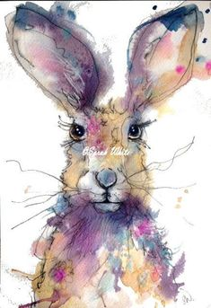 Original Watercolour Hare by Sarah White of inspirestudiogallery on Etsy Animal Paintings, Animal Drawings, Art Drawings, Watercolor Animals, Watercolor Paintings, Watercolours, Watercolor Ideas, Illustrations, Illustration Art