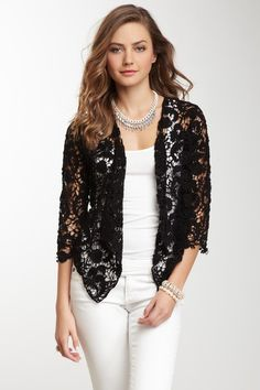 Black Lace Draped Open Front. Would be cute with a pop of color