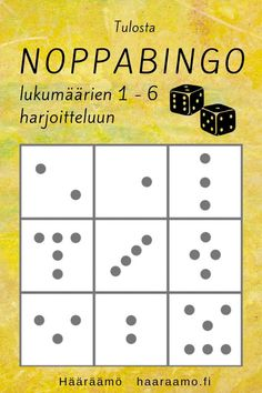 Tulosta noppabingo lukumäärien 1-6 harjoitteluun PDF 1st Grade Math, Early Childhood Education, My Job, Early Learning, Pre School, Bingo, Teaching, Peda, Children