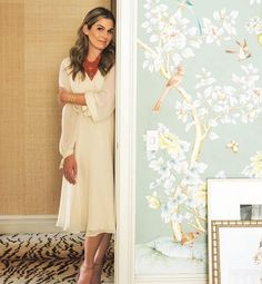 WEBSTA @ aerin - Thank you for an amazing story shot by Marc C O'Flaherty. Wearing the exclusive Amanda dress, coming soon to AERIN Southampton. Gracie Wallpaper, Home Wallpaper, Waves Wallpaper, Bedroom Wallpaper, Aerin Lauder, Leather Photo Albums, Print Magazine, Traditional Decor, Looking Gorgeous