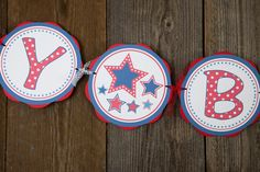 Stars HAPPY BIRTHDAY Banner, 4th of July Birthday Decorations, Star Party, Star Banner, Star Party, Patriotic Birthday, Patriotic Banner