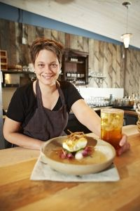 At Burdock & Co., chef Andrea Carlson makes a soothing broth of the titular plant with halibut and pine mushroom—and features it in a plum and root-beer bitters cocktail.