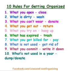 Organizing Rules...Simple, yet helpful.