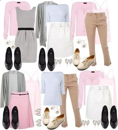 Teacher Outfits on a Teachers Budget: Mix and Match by allij28 on Polyvore The colors do not speak to me but the idea of having a few pieces and many outfits from them does.