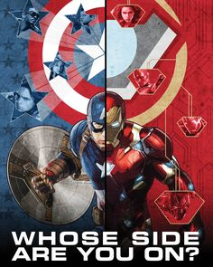 """Civil War threatens The Avengers as Captain America and Iron Man are divided on international policy leading to an ultimate show down. The text reads """"Whose Side Are You On?"""" making this piece an instant conversation starter that will give your bare..."""