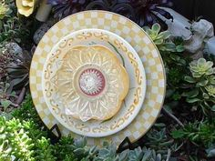 DJ's Drought Resistant Plate Flowers. #69.     Garden Yard Art glass and ceramic plate flower