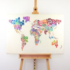 Painting of a world map with a different style than usual.