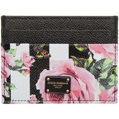 Dolce and Gabbana Black Stripes and Flowers Card Holder (€195) ❤ liked on Polyvore featuring bags, wallets, black, flower bag, card case wallet, dolce gabbana bags, credit card holder wallet and dolce gabbana wallet