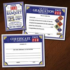 Custom Cub Scout Blue & Gold  Invitation, Certificate of Appreciation, Graduation Certificate - Set 1 - Number Patches