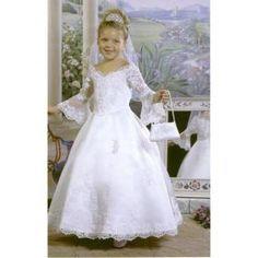 V-neck Ankle-length Satin Flower Girl Dress / First Communion Dress (HSX488) $94.99