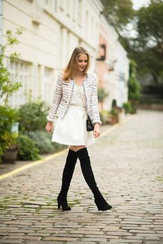 Miss USA 2011 Alyssa Campanella of The A List blog wearing J.Crew Tweed jacket and Stuart Weitzman Highland boots in London
