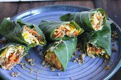 This Rawsome Vegan Life: raw burrito wraps- collard green wraps, veggies, spicy taco nutmeat and cream cheese